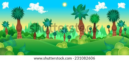Green forest. Vector cartoon illustration. - stock vector