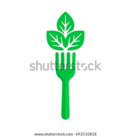 Green Fork Leaf Like Vegan Food Stock Photo Photo Vector