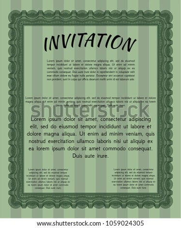 Green formal invitation nice design complex stock photo photo green formal invitation nice design with complex linear background vector illustration stopboris Images