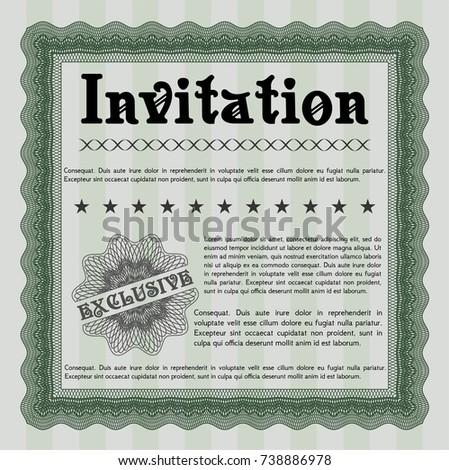 Green formal invitation vector illustration background stock vector green formal invitation vector illustration with background artistry design stopboris Images