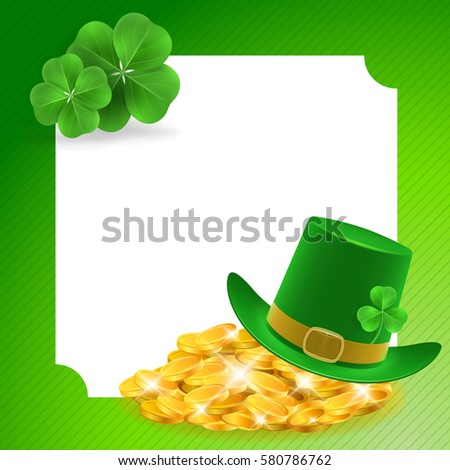 Green frame with hat, coins and clovers