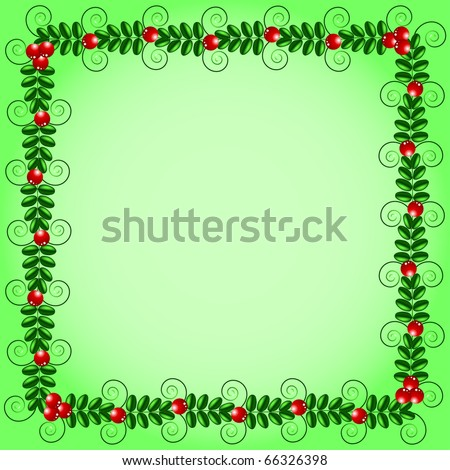 Green frame with leafs and berries