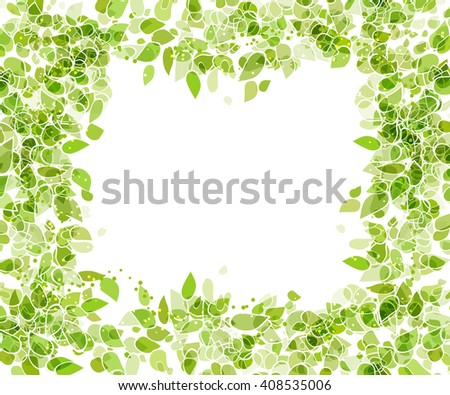 green frame with leaves - stock vector