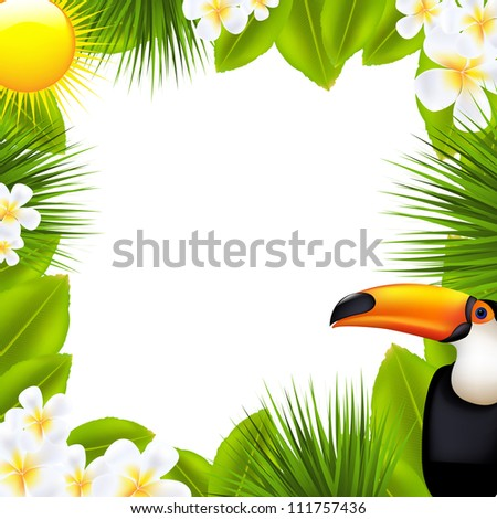 Green Frame With Tropical Elements, Isolated On White Background, Vector Illustration - stock vector