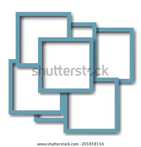 Green frames on the white wall. Vector illustration