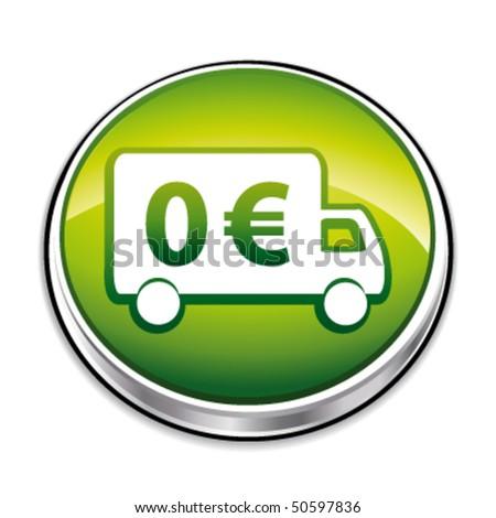Green free shipping 3d icon. Vector illustration. - stock vector