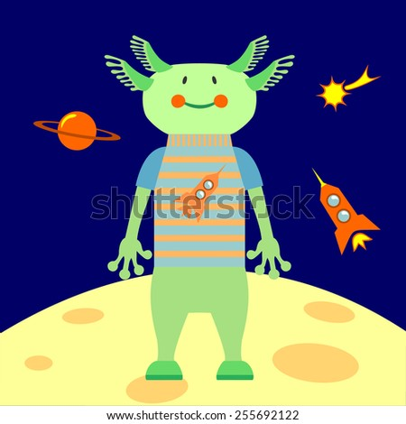 Green friendly alien from outer space. The spaceship, planets, comets - stock vector