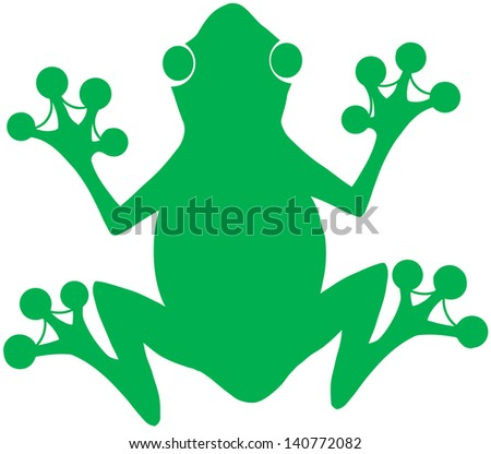 Green Frog Silhouette on the White Background - stock vector