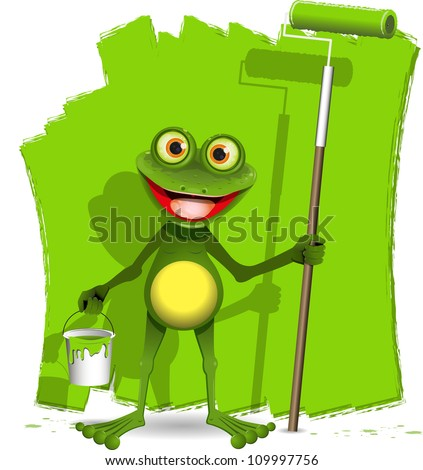 green frog with a roller to paint - stock vector