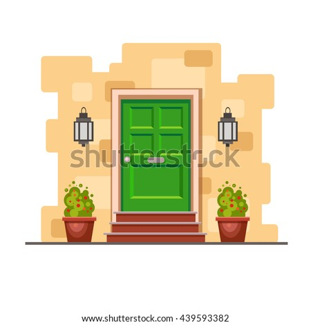Green front door on the yellow brick wall with two pots with plants and lights. Vector building element. Cartoon house illustration - stock vector