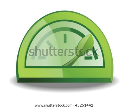 Green Fuel Gauge - Vector Illustration - stock vector