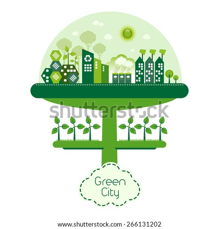 Green futuristic city living concept. Green housing with solar panels, wind farm and trees. - stock vector