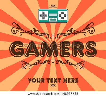 green game console vintage - stock vector