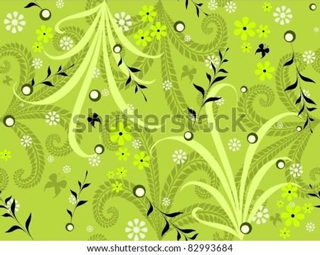 green garden seamless pattern - stock vector
