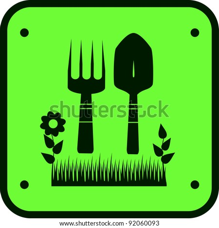green garden sign with silhouette of grass, flower and tools for ground work - stock vector