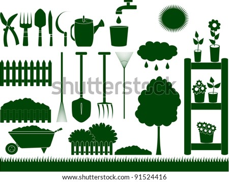 green garden tools for household isolated - stock vector