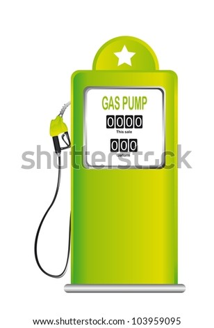 green gas pump isolated over white background. vector illustration