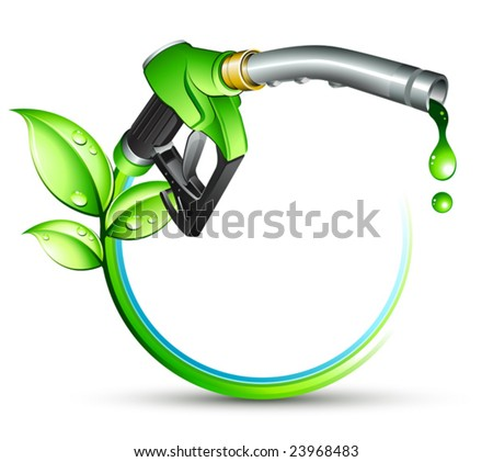 Green gas pump nozzle - stock vector
