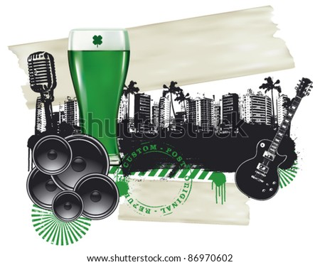 green glass of beer with city background - stock vector