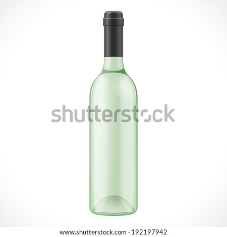 Green Glass Wine Cider Bottle On White Background Isolated. Product Packing. Vector EPS10 - stock vector