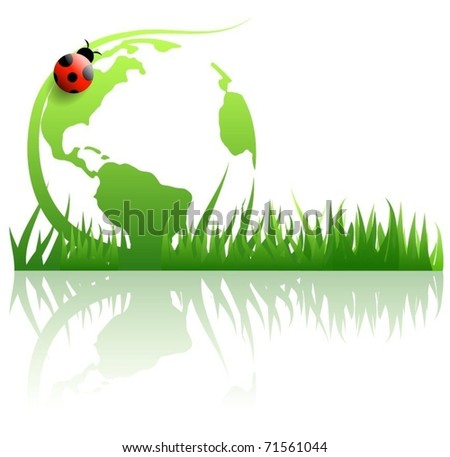 Green globe. - stock vector