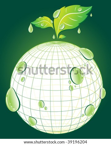 Green globe and rain drops