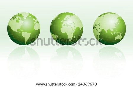 Green globe set with reflections - stock vector