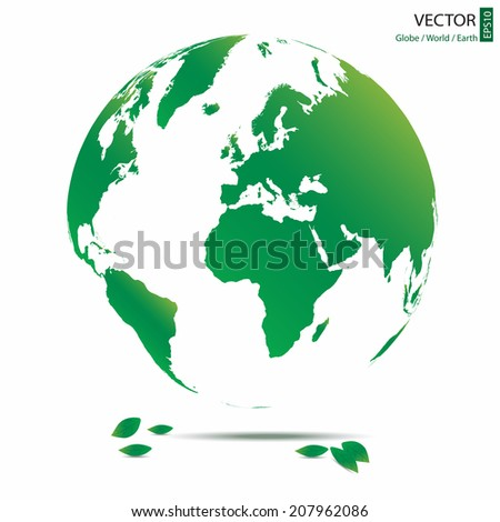 green globe that can see almost entire world map with green leaves, green earth vector illustration design concept campaign - stock vector