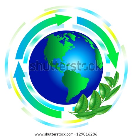 green globe with arrows vector. green earth
