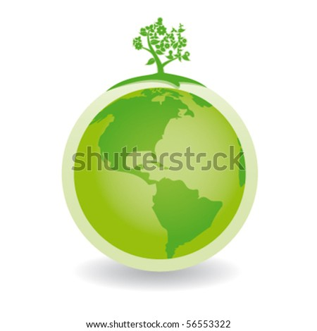green globe with green tree america - stock vector
