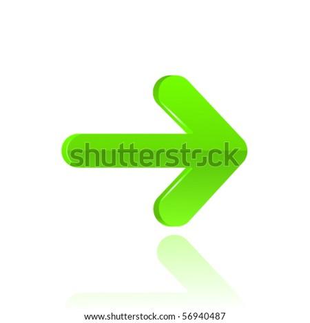 Green glossy arrow. Vector - stock vector
