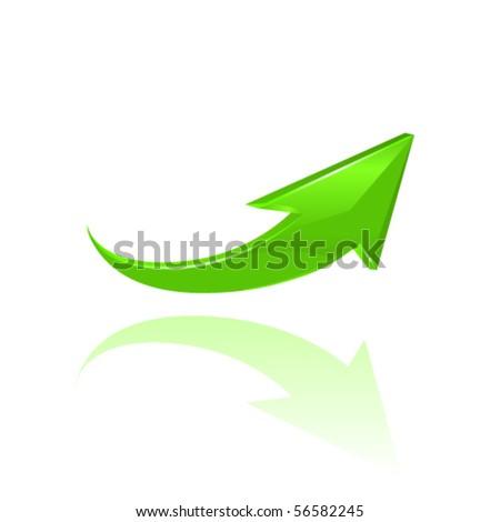 Green glossy arrow. Vector, 10eps - stock vector