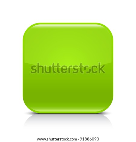 Green glossy blank internet button. Rounded square shape icon with black shadow and gray reflection on white background. This vector illustration created and saved in 8 eps - stock vector