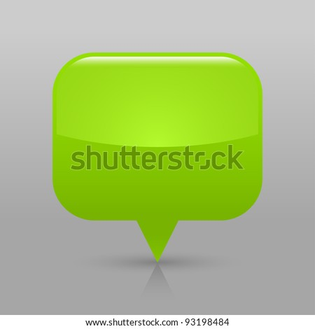 Green glossy blank map pin icon. Rounded rectangle web button with shadow and reflection on light gray background. This vector illustration saved in 8 eps - stock vector