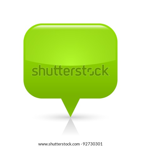 Green glossy blank map pin icon web button. Rounded rectangle shape with gray shadow and reflection on white background. This vector illustration saved in 8 eps - stock vector