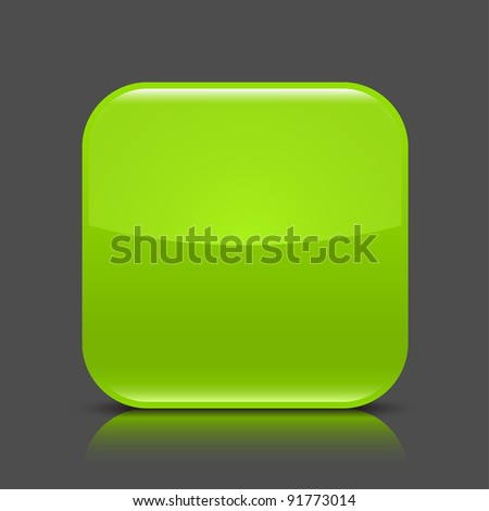 Green glossy blank web button. Rounded square shape icon with black shadow and colored reflection on dark gray background. This vector illustration created and saved in 8 eps - stock vector