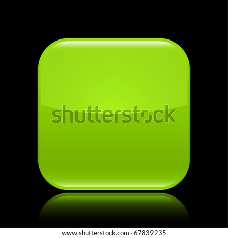 Green glossy blank web 2.0 button with colored reflection on black background - stock vector