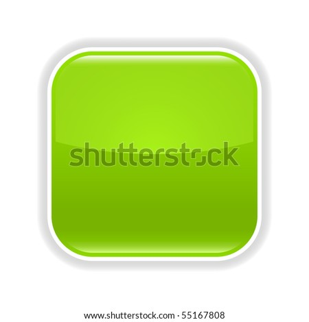 Green glossy blank web 2.0 button with gray shadow on white background - stock vector