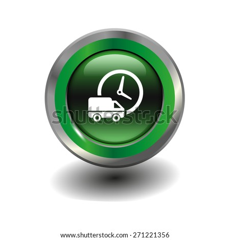 Green glossy button with metallic elements and white icon delivery, vector design for website - stock vector