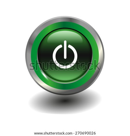 Green glossy button with metallic elements and white icon power on/off, vector design for website - stock vector