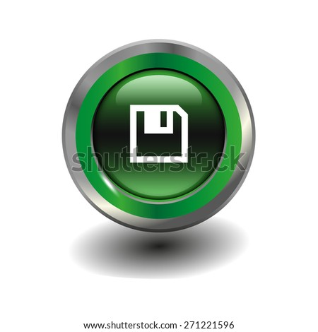 Green glossy button with metallic elements and white icon save, vector design for website