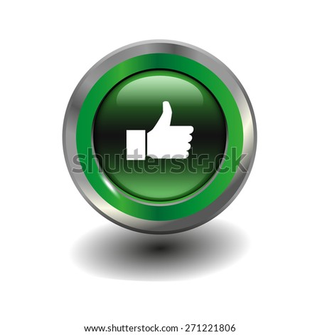 Green glossy button with metallic elements and white icon thumbs up, vector design for website - stock vector