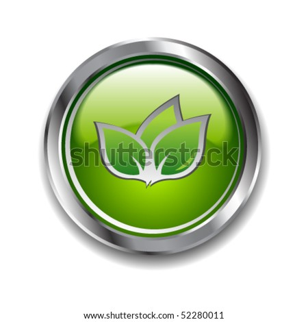 Green glossy ecological button - stock vector
