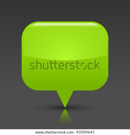 Green glossy empty blank map pin button. Rounded rectangle web icon with black shadow and color reflection on dark gray background. This vector saved in 8 eps. See more buttons in my gallery - stock vector