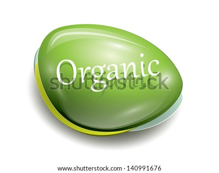 Green glossy icon, organic text, EPS 10, isolated - stock vector