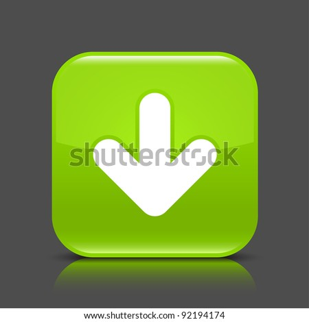 Green glossy internet button with arrow download symbol. Rounded square shape icon with black shadow and colored reflection on dark gray background. This vector illustration saved in 8 eps - stock vector