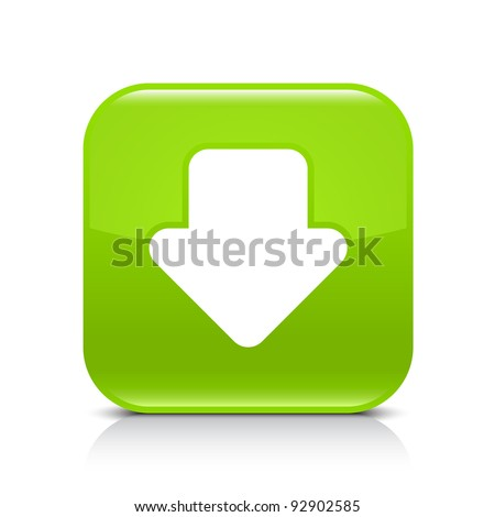 Green glossy internet button with arrow download symbol. Rounded square shape icon with shadow and reflection on white background. This vector illustration created and saved in 8 eps - stock vector