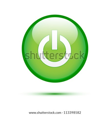 Green glossy power button on white - stock vector
