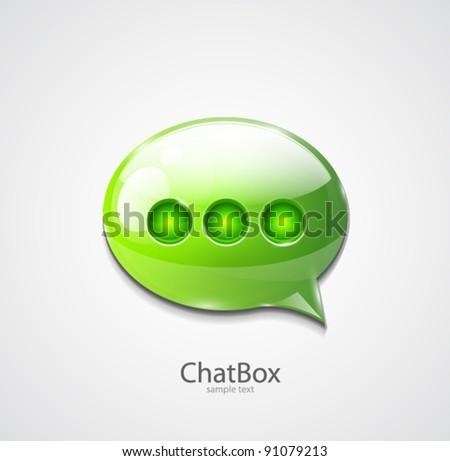 Green glossy speech bubble icon - stock vector