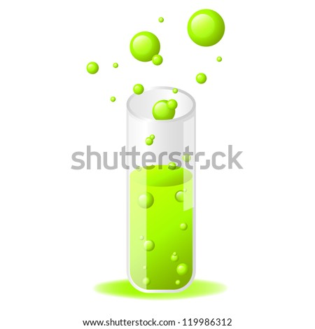 Green glossy test tube icon on white background - stock vector